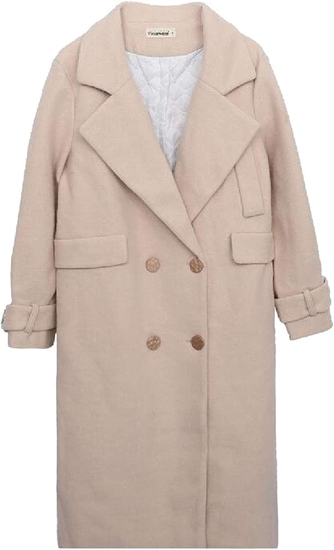 Jxfd Women's Button Down Solid Wool Blend Pea Coat Outerwear