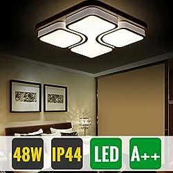 Hengda® 48 Modern Wohnzimmerlampe LED Deckenleuchte Mit Fernbedienung Dimmbar IP44 Quadratisch Esszimmer Lampe Schlafzimmerleuchte Küchen Flurlampe[Energieklasse A++]