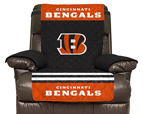 Pegasus Sports NFL Cincinnati Bengals Furniture Protector with Elastic Straps, Recliner, Black