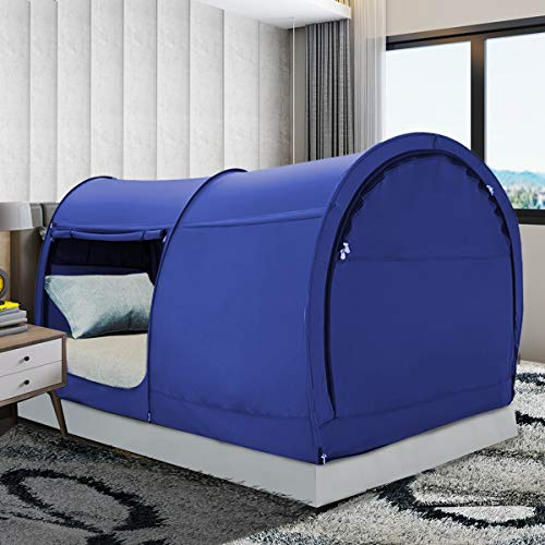 Bed Tent Dream Tents Bed Canopy Shelter Cabin Indoor Privacy Warm Breathable Pop Up Queen Size for Kids and Adult Patent Pending Navy(Mattress Not Included)