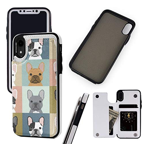 Compatible with Apple iPhone XR Case 6.1' Pu Leather Wallet Phone Case French Bulldog