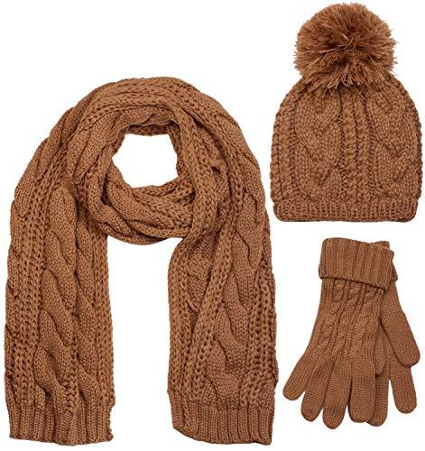styleBREAKER conjunto de chal, gorro y guantes, chal de punto con motivo trenzado con gorro con pompón y guantes, señora 01018208, color:Coñac/bufanda 🔥
