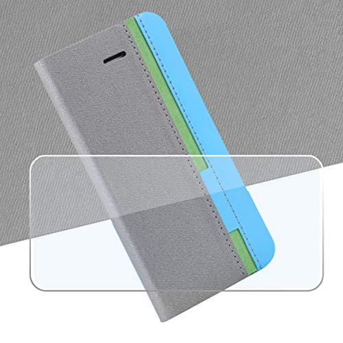 QFSM Grau Schutzhülle + Gehärtetes Glas Panzerglas Folie Für Ulefone Power 6 Schutz Bookstyle Flip Cover Hülle Wallet Purse Brieftasche with Bildschirmschutzfolie Glass Folie