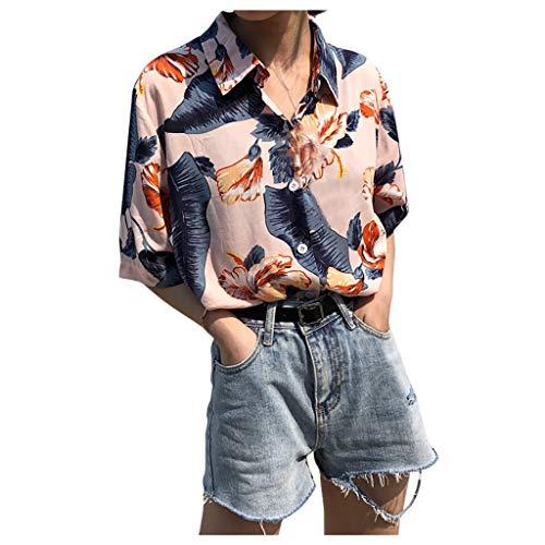 LeeMon Damen Dünn Kurzarm Hemd, Funky Hawaiibluse Hawaiihemd | Damen | Kurzarm | Sommer 3D Reise Hawaii-Print |