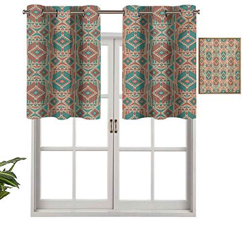 Hiiiman Cenefa opaca de alta calidad con ojales, diseño geométrico, estilo vintage, tono pastel, 1 unidad, 106,7 x 45,7 cm, paneles opacos decorativos para el dormitorio