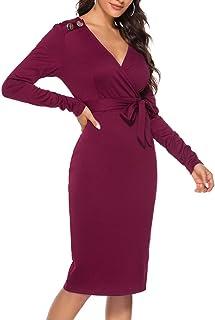 HX fashion Donne Vestito dalla Matita con Scollo A V Sagomata Vestito da Cocktail del Vestito da Affari del Vestito da Ser...