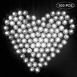 Danolt 100 Pcs Luces de Globo Mini Intermitente Redondo Lámparas LED para Boda Linternas de Papel Niños Fiestas de Cumpleaños de Halloween Decoración de Navidad