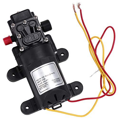 Coolty Hochdruck Membran Wasserpumpe DC 12V Selbstansaugende Elektropumpe 100PSI 4L / Min für Wohnwagen Bootsreinigung Waschen und Gartenbewässerung(Rückflussventiltyp)