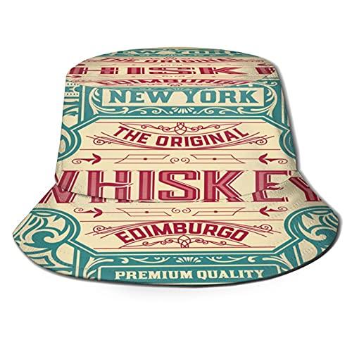 RUEMAT Fischerhut,Altes Etikettendesign für Whisky und Weinetikett Restaurant Banner Beer Label,Unisex Sonnenhut Bucket Hat Anglerhut Fishermütze Outdoor Faltbar Cap