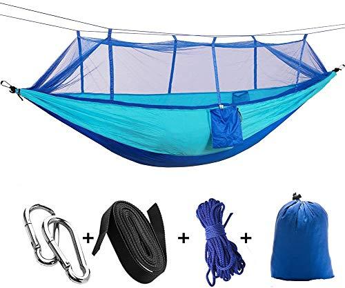 iToncs - Amaca per 2 persone, portata 200 kg, in nylon ad asciugatura rapida, ultraleggera, per interni ed esterni, con zanzariera, 260 x 140 cm, per campeggio con sospensione, colore: blu