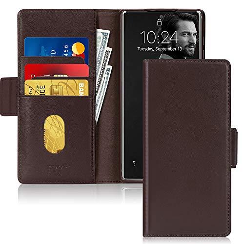 FYY - Funda para Samsung Galaxy Note 20 (piel de vacuno, función atril, tarjetero), color marrón
