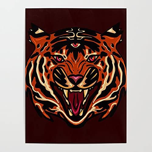 Beaxqb Pintura por números Animal Tigre Kits de Regalo de Pintura al óleo para para decoración del hogar 40x50cmSin Marco