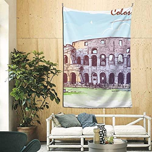 N\A Decoración para Colgar en la Pared, Famoso Coliseo en Roma, Italia, Tapiz para Mujer, Arte de Pared para apartamento, Dormitorio, telón de Fondo, decoración del hogar