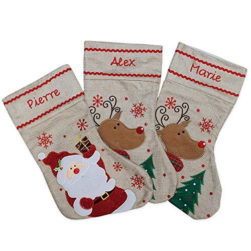 Set di 3 calze natalizie in lino con nome personalizzato