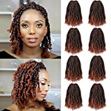 Fulcrum Pre-Twisted Passion Twist Crochet Hair 10 Inch, 8 Packs Pre Looped Passion Twist Braiding Synthetic Hair, Bohemian Braids For Crochet Pretwisted Hair Extensions (10Inch (Pack of 8), T350#)