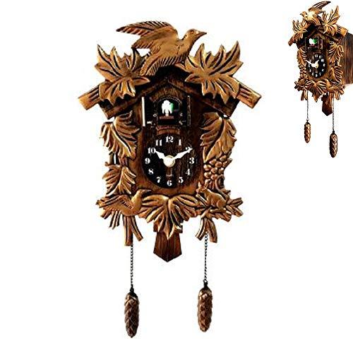 Chalet reloj del bosque Negro reloj de cuco tradicional, de madera antigua de cuco del reloj de pared animales Tiempo de Bell oscilación del reloj de alarma Inicio la decoración del arte, 38X21x10cm
