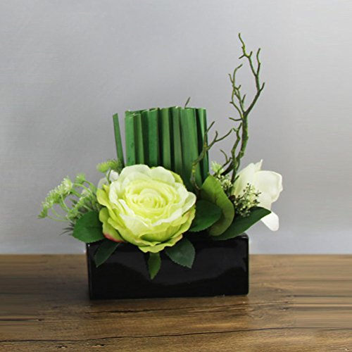 WENZHE Fleurs Artificielles Simulation Plantes Faux Fleurs Flore Rose Roseau Céramique Vase Ornement Table Basse Salon Accueil Accessoires Ensemble, 2 Modèles (taille : 33 * 30cm)