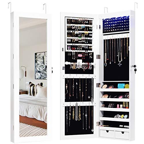COSTWAY Schmuckschrank mit 15 LED Leuchten, Schmuckregal Tür- und Wandmontage, Schmuckkasten mit Ganzkörperspiegel, Schmuck Spiegelschrank für Ringe, Kettenhaken und Ohrringe, inkl.2 Schlüssel, weiß