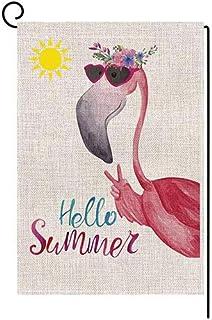 LATDELDIS Hello Summer Flamingo Small Garden Flag Vertical Double Sided 12 x 18 Inch Floral Beach Burlap Yard Outdoor Deco...