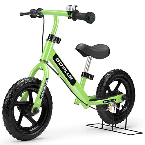 """Goplus 12"""" Kids Balance Bike, No Pedal Bicycle w/Adjustable Bar and Seat, Brake, Bell Ring, Stand, for Ages 3 to 6 Years, Pre Bike Push Walking Bicycle (Green)"""