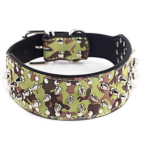 Fully Hundehalsband Halsband Pilz Nieten PU Leder Halskette Kragen Punk Blogger Verstellbar Welpen Labrador Huskie (M, Camouflage)