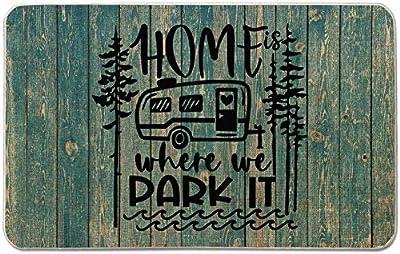 Occdesign Home is Where We Park It Camper Door Mat Farmhouse Rustic Decorative Camping Doormat Durable Burlap Camper Rug