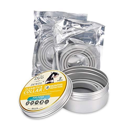 SAKURAM 2 Piezas Collares Antipulgas Aantiparasitos para Perros Y Gatos contra Pulgas, Mosquitos, 8 Meses De ProteccióN,Natural Insect Repellent Essential Oil Pet Collar(63cm)