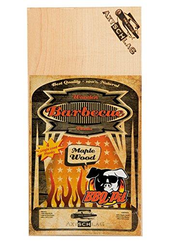 Axtschlag Einmal-Grillbretter Ahorn, BBQ Pit Edition, 4 extra dünne Single Use Planks zum schonenden Garen mit aromatischer Rauchnote auf jedem Grill, 300 x 150 x 2 mm