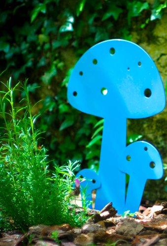 Champignon Bleu à planter en métal 15cm IKI déco de jardin
