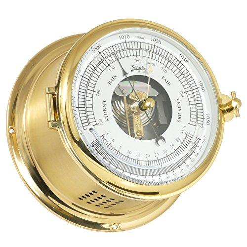 Barometer-Thermometer SCHATZ Serie Royal Messing poliert, 2 x lackiert, MECA Barometer, Flüssigkeitsthermometer, weisses Zifferblatt, schwarze Skala,