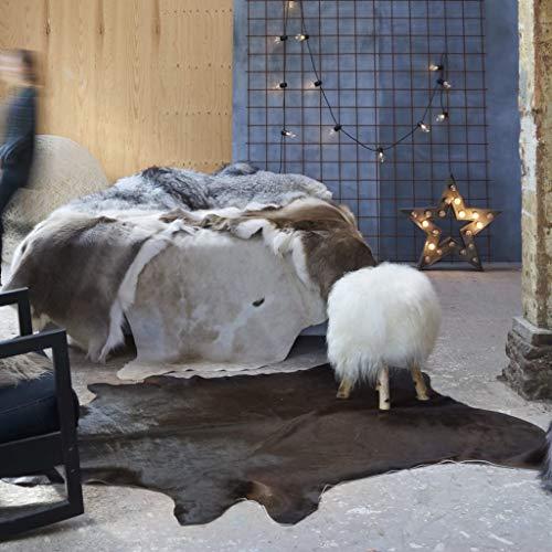 WooDlan Alfombra de Piel de Vaca auténtica marrón 150x170 cm