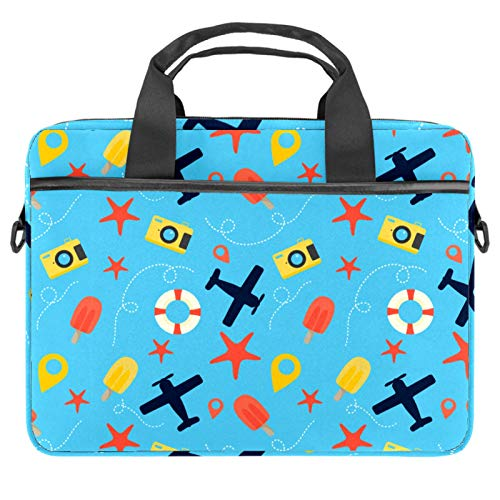 Laptop Bag Travel Popsicles Plane Starfish Camera Blue Notebook Sleeve with Handle 13.4-14.5 inches Carrying Shoulder Bag Briefcase
