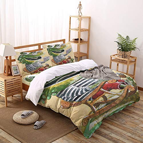 Greeeen 4 Pieces Duvet Cover Bedding Set- 1 Duvet Cover + 1 Flat Sheet + 2 Pillow Shams, Crocodile with Glasses on The Rocking Chair Reading a Book Comforter Cover Twin Size for Kids/Adults