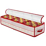 Plastic Under-Bed Christmas Ornament Storage Box Large with 2 Sided Dual Zipper Closure - Keeps 96 Holiday Christmas Ornaments, Xmas Decorations Accessories, 3' Compartments - Sturdy Flexible Plastic