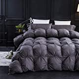 Three Geese Pinch Pleat Goose Down Comforter King Size Duvet Insert ,750+ Fill Power,1200TC 100% Cotton Fabric, Premium Grey Comforter for All Seasons with 8 Tabs