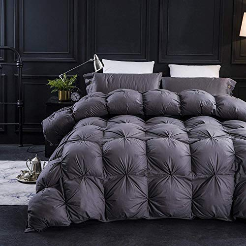 Three Geese Pinch Pleat Goose Down Comforter King Size Duvet Insert ,750+ Fill Power,1200TC 100% Cotton Fabric,Hypo-allergenic Grey Comforter for All Seasons with 8 Tabs