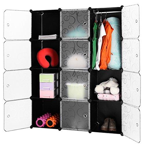 LANGRIA 20 Cubes Penderie Modulable avec Portes Garde-Robe de Rangement Portable 1 Tige Suspendue pour Vêtements Chaussures Jouets Accessoires Capacité par Cube 4,5 kg (Motif Bouclé Noir et Blanc)