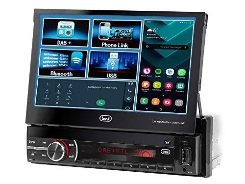 Trevi MDV 6380 DAB Sistema Car Video con Display Touch da 7 , Ricevitore Digitale DAB DAB+   FM, Mp3, USB, SD, Aux-IN, Android Mirror Link, Ingresso Videocamera Parcheggio, Frontalino Estraibile