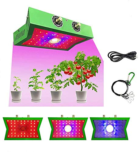 ANROD 1200W COB LED Lámpara de Cultivo de Espectro Completo para Plantas de Interior, Ajustable Interruptor de vegetación/floración Luz de Cultivo, Lámpara de Plantas para Flor Vegetal