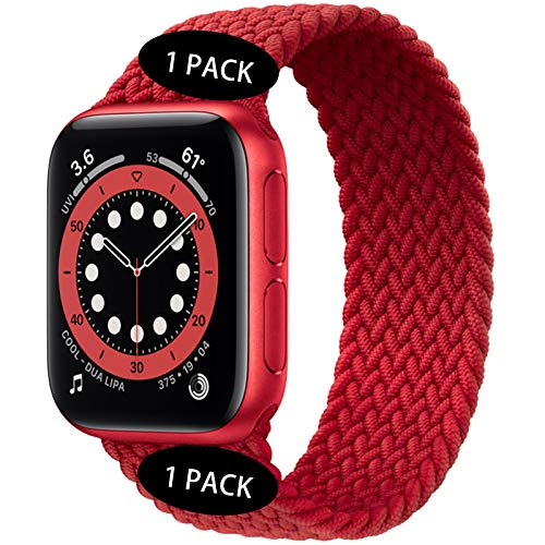 Watchbands Compatible for Apple Watch SE Series 6 Bands 40mm 44mm Woven Solo Loop Braided Strap iwatch Compatible with 5/4/3/2/1 38mm 42mm-(Red-42mm/44mm:#4)