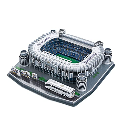 JXS Santiago Bernabéu Stadium Model, Modelo arquitectónico Stadium 3D Puzzle, Real Madrid Fútbol Estadio Modelo de Juguete, 160 Puzzle