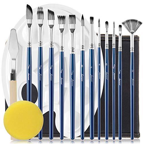 Fuumuui Pinceles para Artistas - 12 tamaños Diferentes Juego de Pinceles para Artistas Kits de Pintura Profesional Incluye Estuche para acrílico, óleo, Acuarela y Gouache