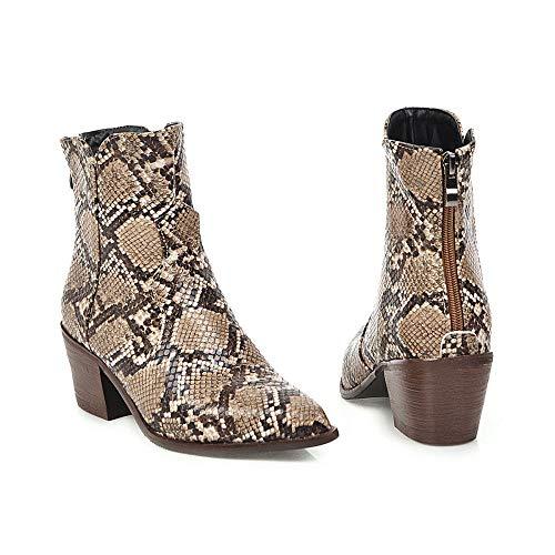 Botas De Mujer Zapatos De Tacón Grueso De Tacón Alto para Mujer Botas Bajas De Serpiente Puntiaguda -40
