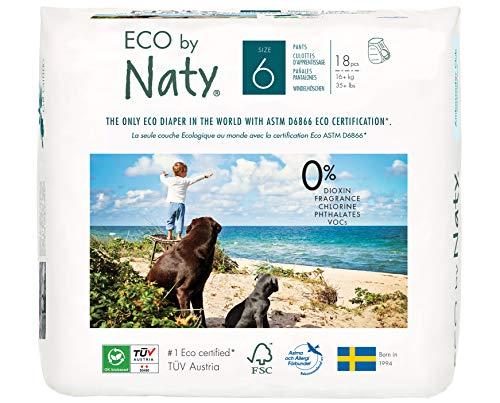 Couches-culottes Eco by Naty, Taille6, 19couches, +16kg, Couches-culottes écologiques Premium à base de végétaux sans produits chimiques nocifs