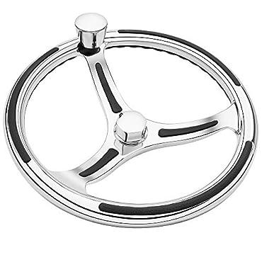 Schmitt & Ongaro 740 Primus Wheel 13.5 Stainless Steel 3/4 Tapered Shaft w/Knob Finger Grips & Black Inserts, 7401321FGK