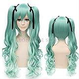 Vocaloid Hatsune Miku Curly green Ponytails Cosplay Wig