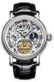 Top Brand Automatic Watch for Men, Skeleton Silver Watches with Leather Strap, Sun Moon Dial