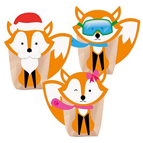 Adventskalender zum Befüllen Foxy Christmas 24 Kraftpapiertüten Geschenktüten Füchse Weihnachten, Weihnachtskalender DIY Bastelset inkl. Accessoires, Aufkleber, Klammern von pajoma