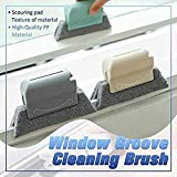 Creative Window Groove Cleaning Brush, Door Kitchen Track Cleaning Tools, Fixed Brush Head Design Scouring Pad Material for Door, Window Slides and Gaps, Quickly Clean All Corners and Gaps (Gray)