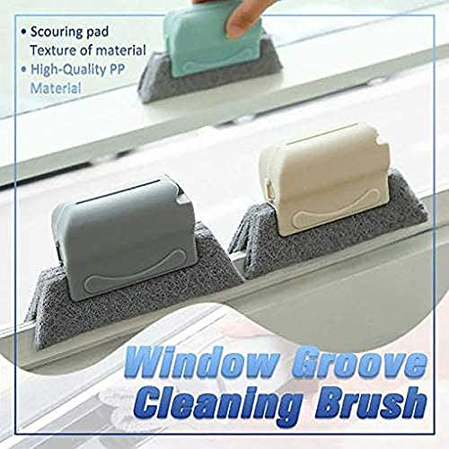 Creative Window Groove Cleaning Brush, Door Kitchen Track Cleaning Tools, Fixed Brush Head Design Scouring Pad Material for Door, Window Slides and Gaps, Quickly Clean All Corners and Gaps (Blue)